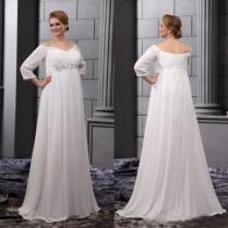 Plus Size Wedding Dresses 2015 Empire Waist Off Shoulder Bridal