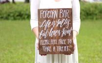 Popcorn Bar Sign, Rustic Wedding Signs, Wedding Favor Sign, Love