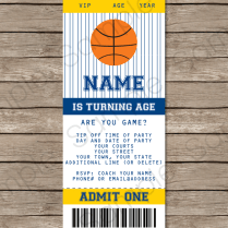Navy Blue And Yellow Basketball Party Ticket Invitation Template