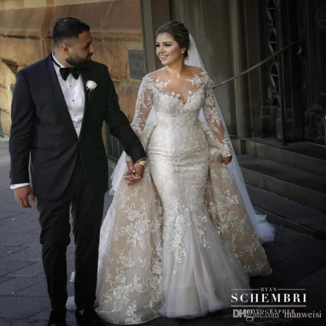 Modest Long Sleeve Overskirts Wedding Dresses Trumpet Style Plus