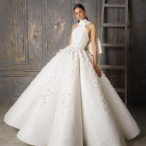 Fashion Lace Ball Gown Wedding Dresses Halter Neck Beaded Puffy