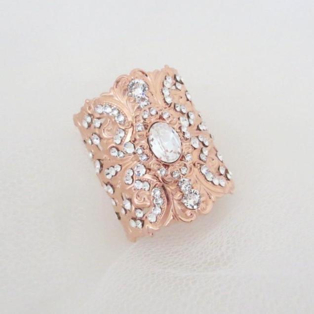 Rose Gold Bracelet, Crystal Bridal Bracelet, Rose Gold Jewelry