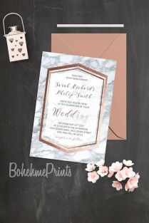 Rose Gold Marble Wedding Invitation Geode Wedding Suite Printable