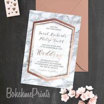 Rose Gold Marble Wedding Invitation Geode Wedding Suite Printable