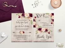Rustic Wedding Invitation Printable Boho Wedding Invite Burgundy
