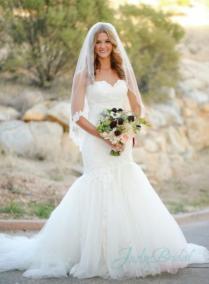 Stunning Sweetheart Neck Lace Tulle Bottom Mermaid Wedding Dress
