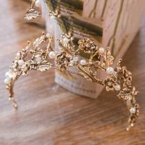 Vintage Retro Gold Bridal Wedding Tiaras And Crowns For Women