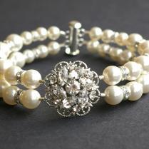Vintage Style Wedding Bridal Bracelet, Rhinestone Bridal Bracelet