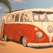 Vintage Vw Bus Painting By Branden Hochstetler