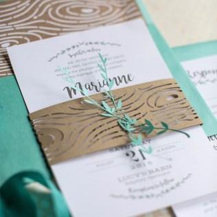 Herb And Woodgrain Pattern Wedding Invitations