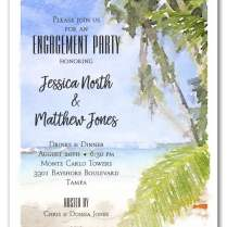 Watercolor Beach Engagement Party Invitations