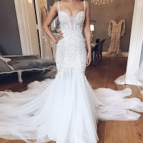 Mermaid Style Backless Straps Court Train Wedding Dress With Lace