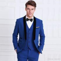 2017 Latest Coat Pant Designs Navy Blue Men Suit Slim Fit Tuxedo