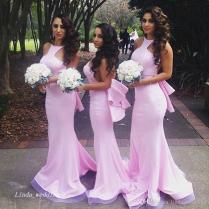2017 Pink Colour Bridesmaid Dress Elegant Mermiad Backless Beach