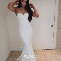 White Sweetheart Satin Mermaid Prom Dress, Formal Gown, Evening