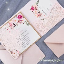 50pcs Custom Color Wedding Invitations Card Pearl Paper Laser