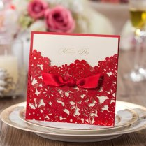 50pcs Laser Cut Red Wedding Invitations Kits With Bowknot Ribbon