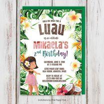 Luau Hawaiian Girl Tropical Birthday Party Invitation, Aloha