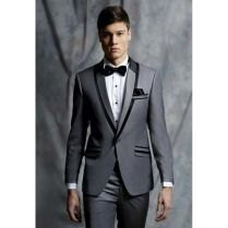 2018 Latest Coat Pant Designs Grey Jacket Prom Men Suit Tuxedo