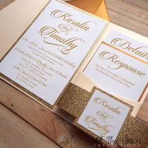 Wedding Pocket Glitter Wedding Invitation Template Photo Rose