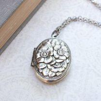 Silver Locket Necklace Antique Silver Floral Locket Pendant