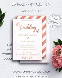 Rose Gold Editable Wedding Invitation, Blush Wedding Invites