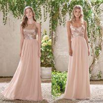 Cheap Rose Gold Sequins Top Long Chiffon Beach 2017 Bridesmaid