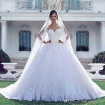 Arabic Luxury Lace Ball Gown Wedding Dresses Applique 3d Flowers