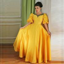 Arabic Yellow Evening Party Dress V Neck Taffeta Formal Mother Of