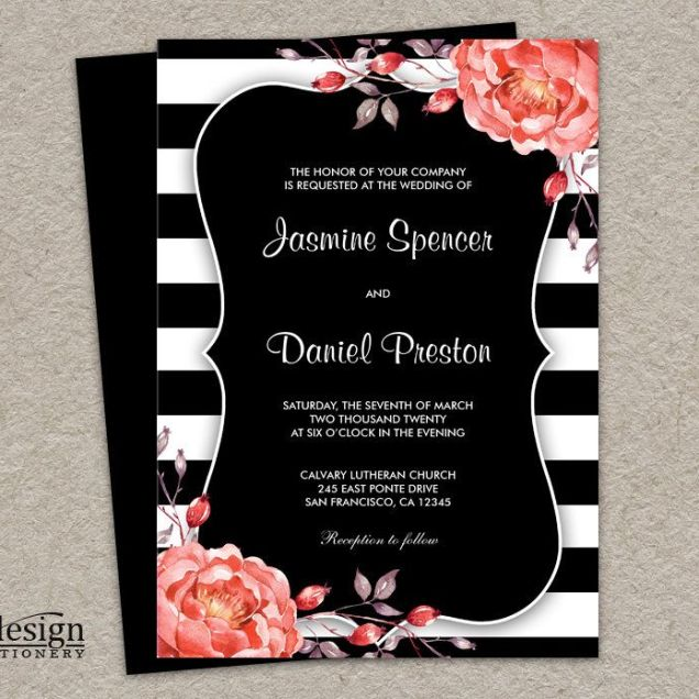 Printable Black And White Stripe Wedding Invitation With Coral