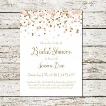 Blush Pink And Gold Bridal Shower Invitation Printable Confetti