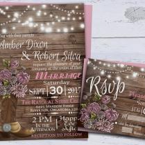 Country Western Wedding Invitations, Printable Rustic Wedding