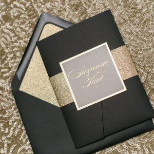 Gold Foil, Wedding Invitations, Pocket Folder, Elegant, Glitter