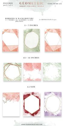 Rose Gold Geometric Watercolor Clipart, Mothers Day Card Splash