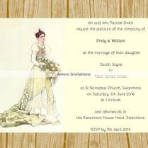 Diy Digital Printable A5 Vintage Wedding Invitation Template