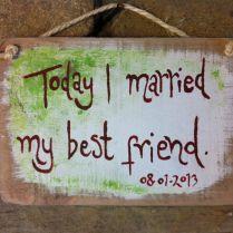 Personlised Rustic Handmade Hand Painted Wedding Sign On Reclaimed