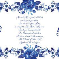 Delft Blue Flowers Wedding Invitation