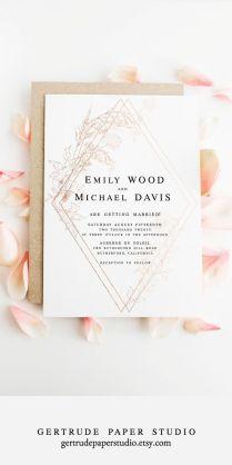 Rose Gold Wedding Invitation, Instant Download, Rose Gold Wedding