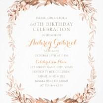 Floral Adult 60th Birthday Invitations