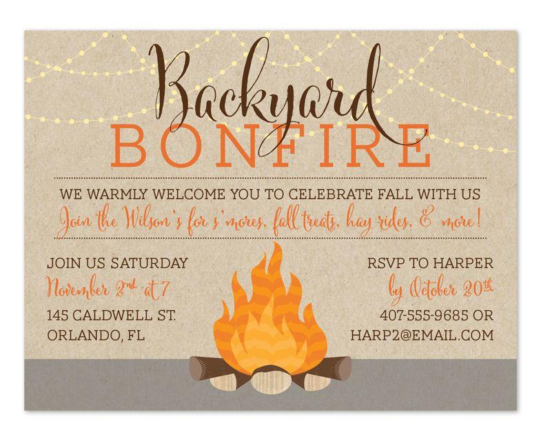 Bonfire Party Invitations Free Printable