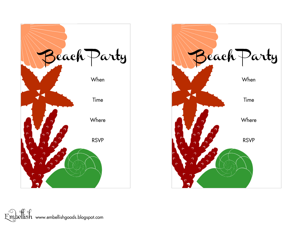 photograph about Beach Party Invitations Free Printable titled Printable Beach front Occasion Invites