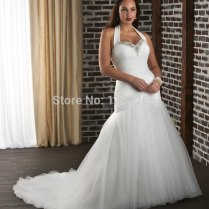 Hot Sale Plus Size Wedding Dresses Trumpet Halter Bride Gowns