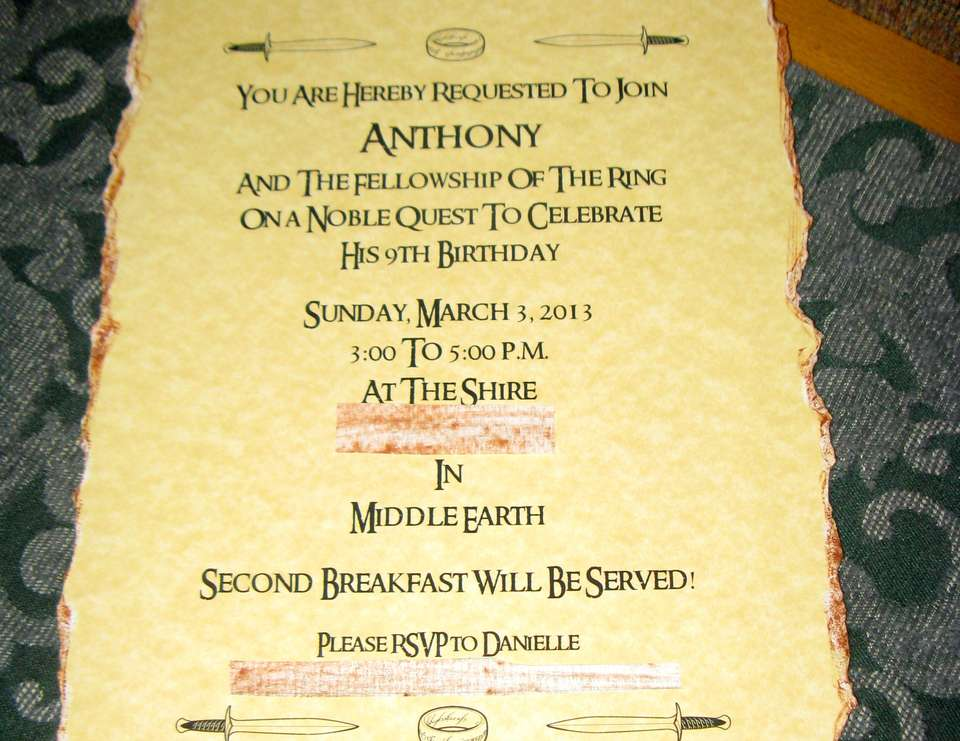 Lord Of The Rings Invitations