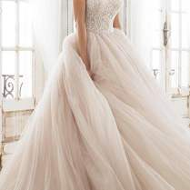Strapless Wedding Dresses Ball Gown Beaded Top Tulle Skirt Blush