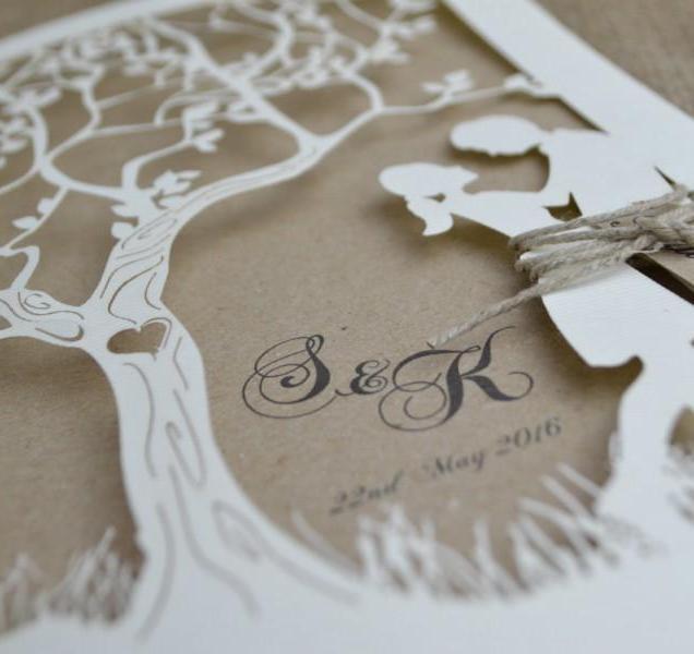 Laser Cut Wedding Invitation,rustic Wedding Invitation, Laser Cut
