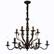 Luxury Rustic Wrought Iron Chandelier E14 Candle Black Vintage