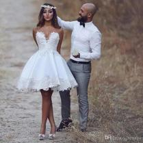 Discount Middle East Arabic Modest Short Wedding Dresses 2018 New
