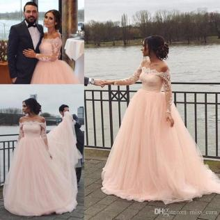 Discount Modest Blush Pink Wedding Dresses Long Sleeve Tulle Off