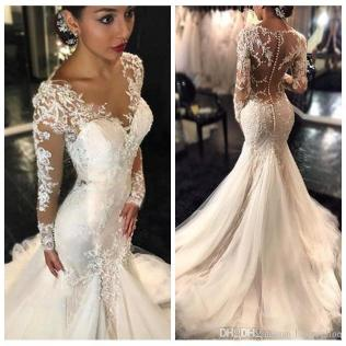 New Gorgeous Lace Mermaid Wedding Dresses Dubai African Arabic