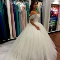 Wonderful Beaded Off The Shoulder Ball Gown Bridal Gown Wedding